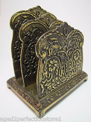 Antique Art Nouveau Jenning Bros Letter Holder beautiful ornate flowers scrollwk