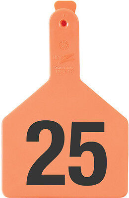 1 - 25* Orange No-Snag Numbered Cow ID Ear Tags