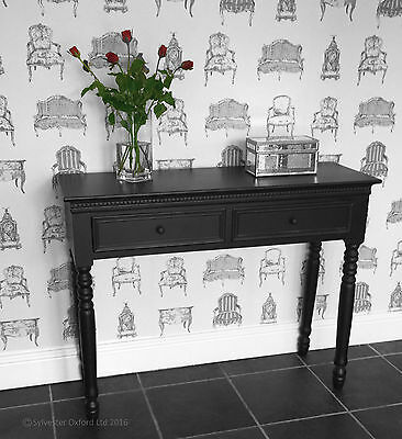 BLACK Belgravia style CONSOLE TABLE / Hall Table shabby/chic