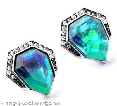 NORTHERN LIGHTS IRIDESCENT BLUE GREEN SILVER Crystal Rhinestone Chevron Earrings