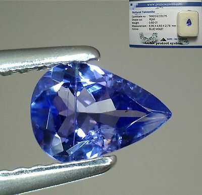 Brillante Tanzanite Naturale Intrattata  In Blister Ct. 0,60  Vs Vvs Goccia