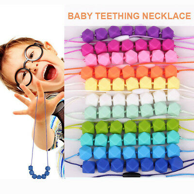 BPA-Free Baby Teether Silicone Teething Necklace Polygon Chew Beads Chain