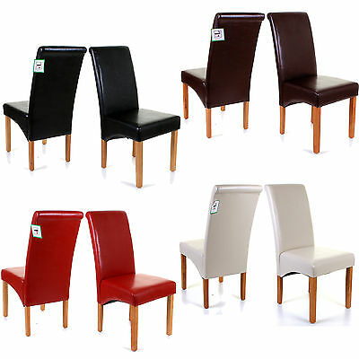 Premium Faux Leather Dining Chairs Scroll Top Roll High Back Wood Furniture Set
