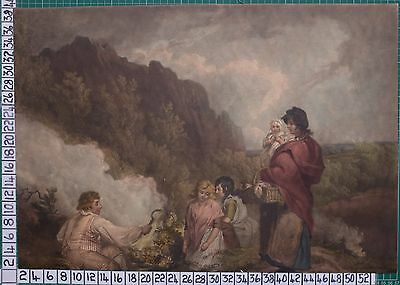 1799 Print Mezzotint - The Fern Gatherers - With Hand Colouring Morland & Smith