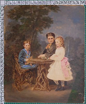 Unusual Large Victorian Photograph Overpainted In Colour - Family Group