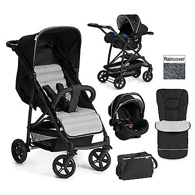 New Hauck Caviar / Silver Shop N Drive Travel System Pushchair Stroller Car Seat