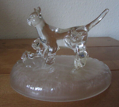 Fab Rare Vintage Retro Glass Cats Cat Family Mother And Kittens Ornament