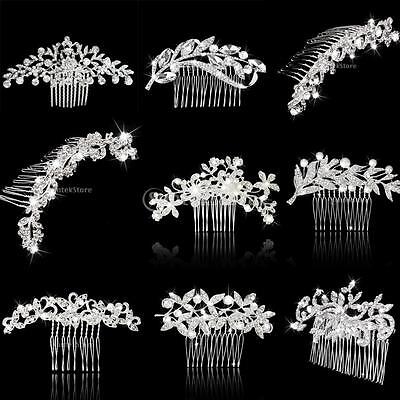 Charming Bridal Wedding Crystal Rhinestone Hair Comb Glitter Flower Prom