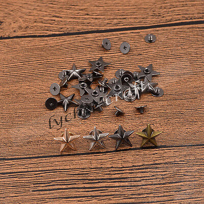 10 Pcs Star Spikes Screw Studs Rivets DIY Hat Shoes Leathercraft Handmade