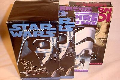 Vintage 3 Vhs Star Wars Trilogy Tape Set Signed By Peter Mayhew Chewbacca