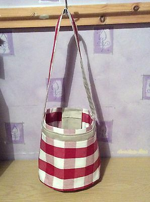 Knitting, Crocheting and Sewing Bucket Bag - Red Check