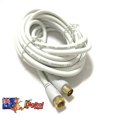 TV Antenna Cable PAL Male to F-Type Flylead Aerial Coaxial Digital 5m 10m 1.8m