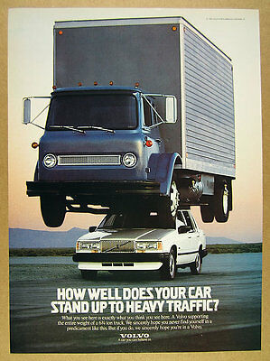1988 Volvo 740 Sedan carrying Truck white car color photo vintage print Ad