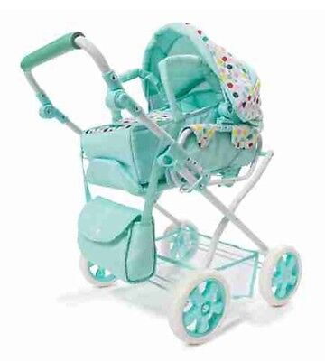 NEW Deluxe Baby Doll Pram Stroller + Nappy bag  and Storage Basket   Foldable