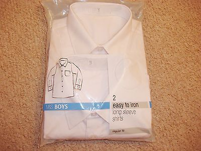 Pack Of Boys 2 White Long Sleeve Uniform Shirts In Age 7 From Marks And Spencer