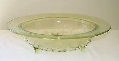 Hocking Green CAMEO Ballerina Depression Glass 3-Footed Console Bowl