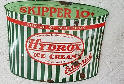 Vintage porcelain Hydrox ice cream skipper 10 cents RARE sign 1932
