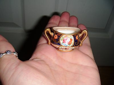Antique  Miniature  Crown Staffordshire  Tiny Two Handled Pot ~ Exquisite