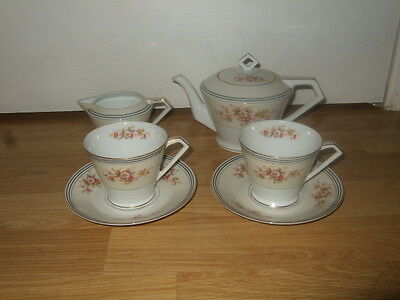 Stunning Noritake Gilt & Floral Art Deco Shape Tea Set For 2 ~ Superb