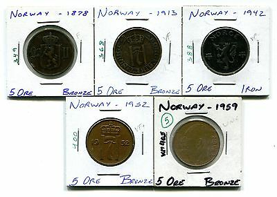 Norway : Lot of 5 different 5 Ore coins  1878 - 1959