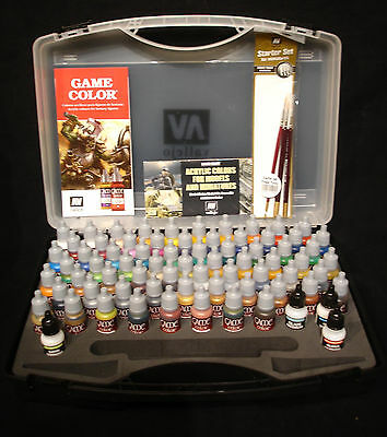 Vallejo Game Colour Case Set 72172 - 72 x 17ml Colors + 3 brushes + Colour Chart