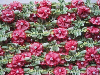 Vintage French Style Red / Pink & Green Rococo Flower Trim With Pearl  1 Yard