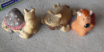 "Lot of 3 Vintage Small Camel Figurines Pottery and Ceramic 1 1/2 to 2"" Tall"