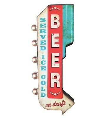 BEER Served Ice Cold On Draft Metal Sign, Marquee W/ LED Lights Man Cave Bar Pub