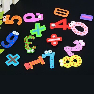 15PCs House Home Creative Wooden Cartoon Numbers Alphabet Magnetic Fridge Toy