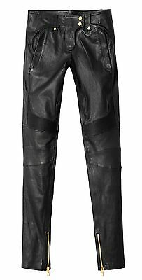 BNWT BALMAIN x H&M Black Slim Fit Leather Biker Quilted Pants Trousers