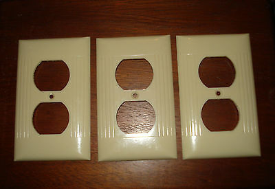 Vintage Sierra Bakelite Ivory Ribbed Outlet Receptacle Plate Covers ...