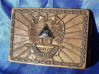 Spes Mea In Deo Est (My Hope Is In God) MASONIC 32nd DEGREE BRASS BELT BUCKLE