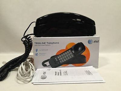 AT&T 210 Corded Phone with 13 Number Memory Black Desk Land Line in Box