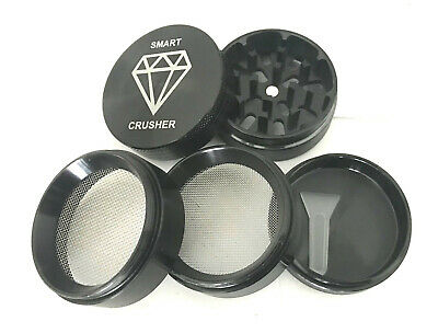 SMART CRUSHER 5 Piece Black Titanium Magnetic Coffee Spice Tobacco Herb Grinder