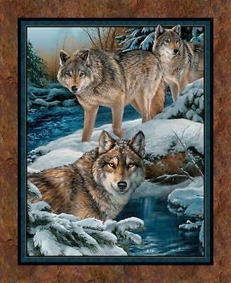 Wolf Fabric Panel Narragansett Creek Wolves In The Snow New Bty Free Shipping