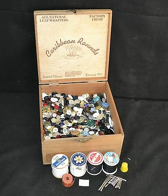 ThriftCHI ~ Cigar Box Full Of Vintage Buttons Assorted Types 3#'s