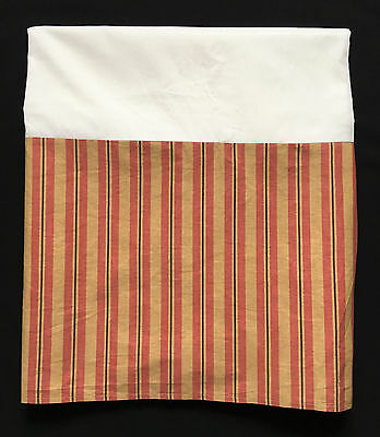 Ralph Lauren Vintage Red & Gold Striped Queen Bed Skirt Dust Ruffle Pleated