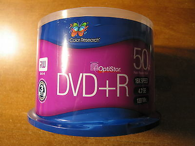 New, Color Research Cake Box DVD+R 50-Pack - 50-Pack, 16X, 120 mins, 4.7GB
