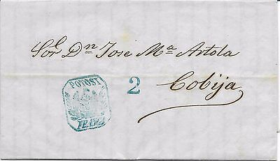 BOLIVIA 1862  Pre - Stamp cover, rate and cancel in black. GREAT OLD COVER