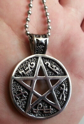 stainless steel Wicca pendant necklace pentagram Gothic jewellery necklace