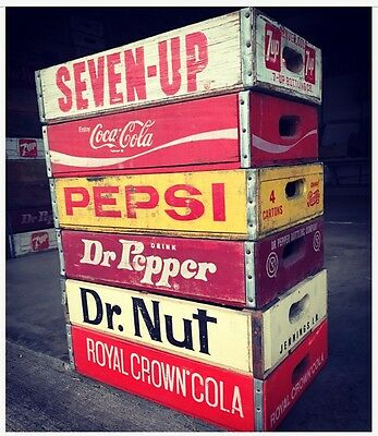 6 Vintage 7up Seven Up Pepsi & Coke RC Dr Nut Wood Soda Pop Crate 4 Divider