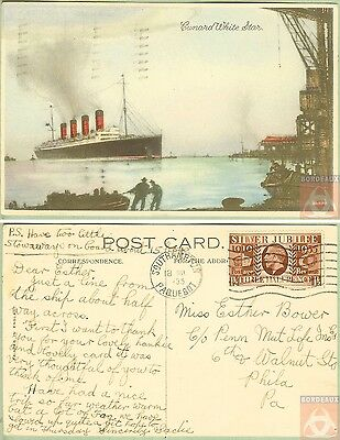 Angleterre - PAQUEBOT - CUNARD WHITE STAR - Posted at Sea 1935 - Southampton