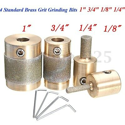 "4 Standard Brass Grit Grinding Bits 1"" 3/4"" 1/8"" 1/4"" for Inland Stained Glass"
