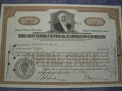 Vintage Stock Certificate New York Central Railroad Co.1940's  #0983
