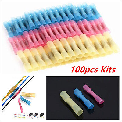 22-10AWG 100pcs Car Heat Shrink Butt Connectors Electrical Wire Crimp Terminals