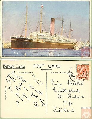 Angleterre - Carte Postale PAQUEBOT  BIBBY LINE - Posted at Sea 1923 - Port Said
