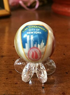 Nyfd Marble New York City Fireman Firefighters  One Inch Glass Marble W/stand