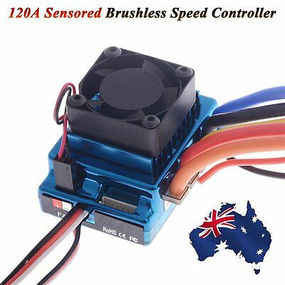 120A Sensored Brushless Speed Controller ESC for 1/8 1/10 RC Car Truck Crawler F