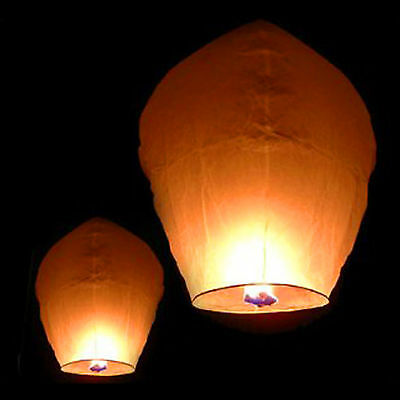 Lot 50 White Paper Chinese Lanterns Sky Fire Fly Candle Lamp Wish Party Wedding