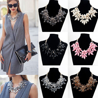 2017 Crystal Flower Choker Chunky Statement Bib Pendant Chain Collar Necklace